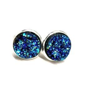 Jewelry - 2 for $10 💖  Deep aquamarine druzy studs